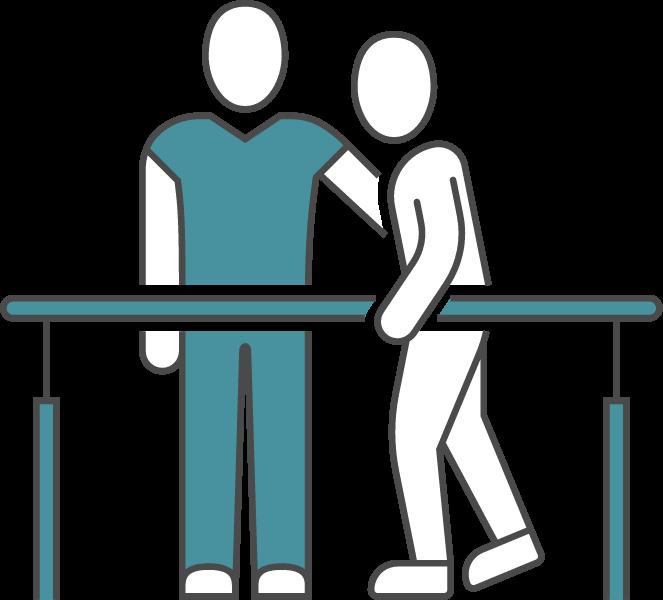 Illustration d'un patient et d'un kinésithérapeute.