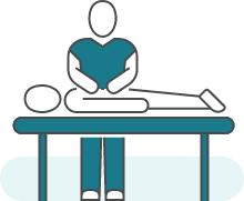 Illustration d'une séance de kinésithérapie pour illustrer : Descentes d'organes.