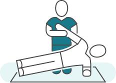 Illustration d'une séance de kinésithérapie pour illustrer : Post Partum.
